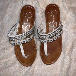 White embellished sandals — Jessica Simpson